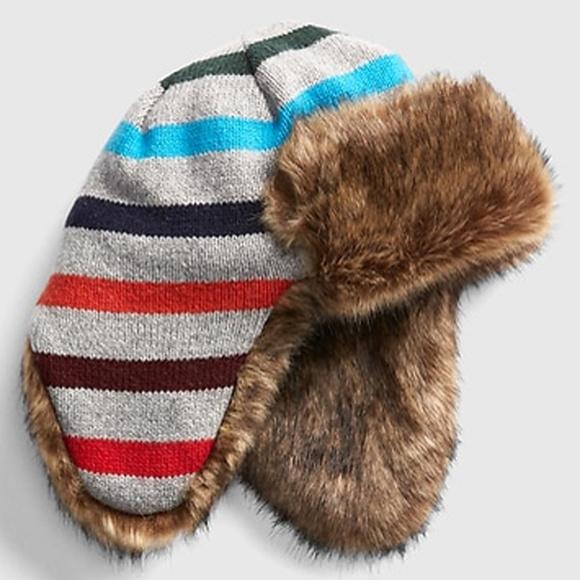 ca8f760de Baby Gap Crazy Stripe Faux Fur Lined Trapper Hat NWT